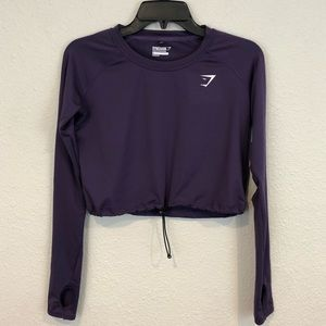 Gymshark Drawstring Long Sleeve Crop Top Small
